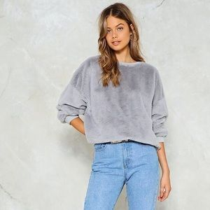 NWT Nasty Gal Soft Faux Fur Grey Silver Sweater
